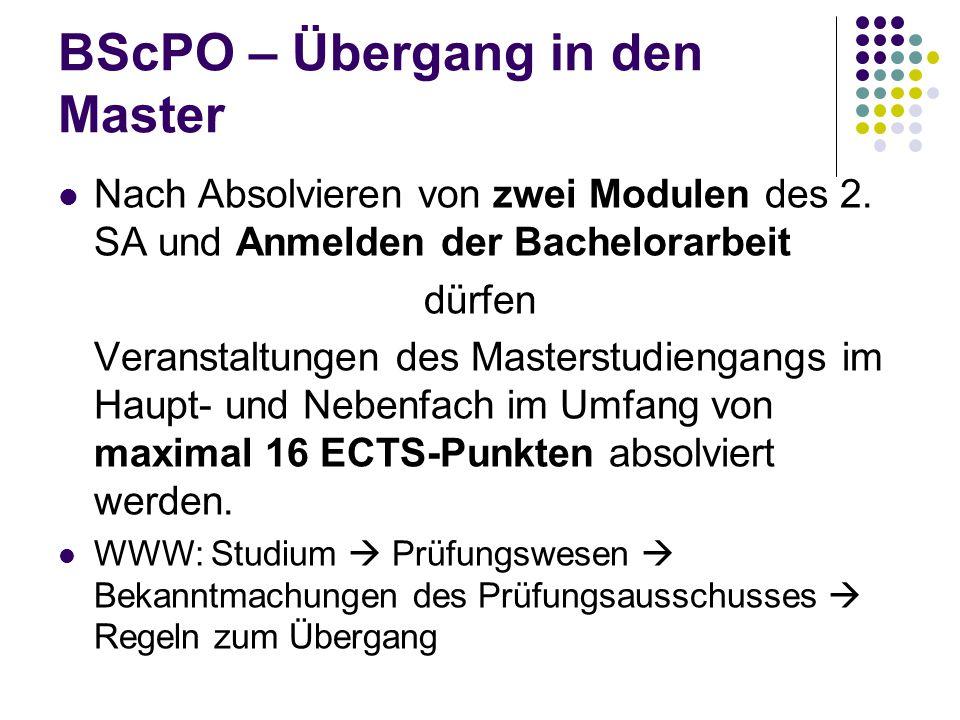 BScPO – Übergang in den Master Nach Absolvieren von zwei Modulen des 2.