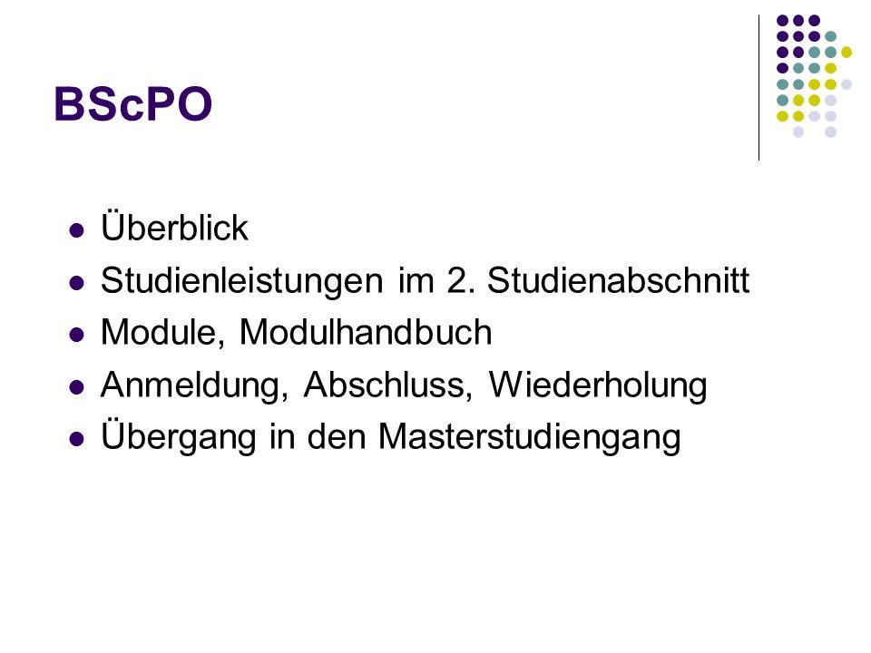 BScPO Überblick Studienleistungen im 2.