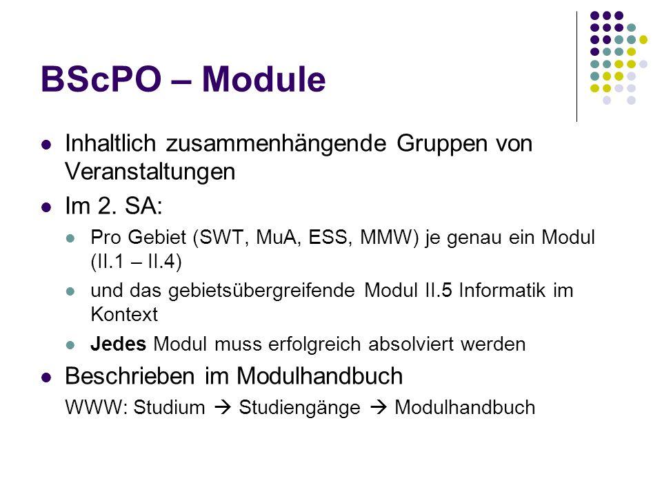 BScPO – Module Inhaltlich zusammenhängende Gruppen von Veranstaltungen Im 2.