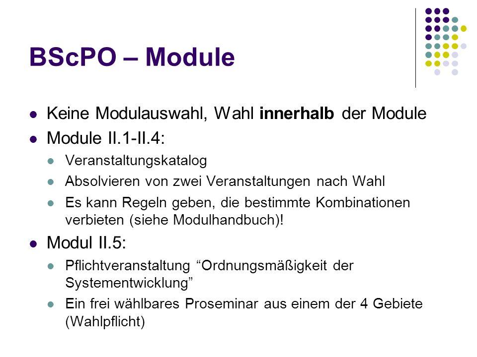 BScPO – Module Keine Modulauswahl, Wahl innerhalb der Module Module II.1-II.4: Veranstaltungskatalog Absolvieren von zwei Veranstaltungen nach Wahl Es kann Regeln geben, die bestimmte Kombinationen verbieten (siehe Modulhandbuch).