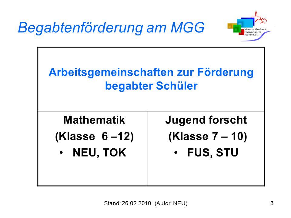 Stand: 26.02.2010 (Autor: NEU)3 Begabtenförderung am MGG Arbeitsgemeinschaften zur Förderung begabter Schüler Mathematik (Klasse 6 –12) NEU, TOK Jugen