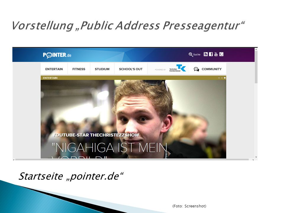 "Startseite ""pointer.de (Foto: Screenshot)"