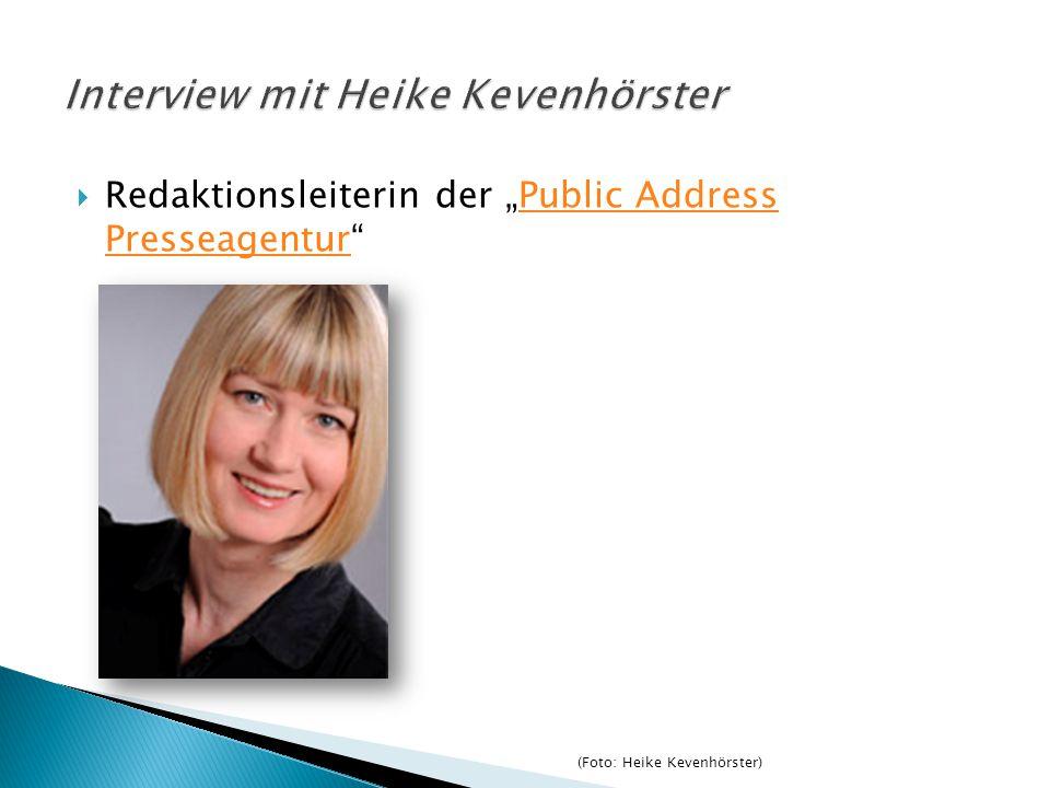 """ Redaktionsleiterin der """"Public Address Presseagentur""""Public Address Presseagentur (Foto: Heike Kevenhörster)"""