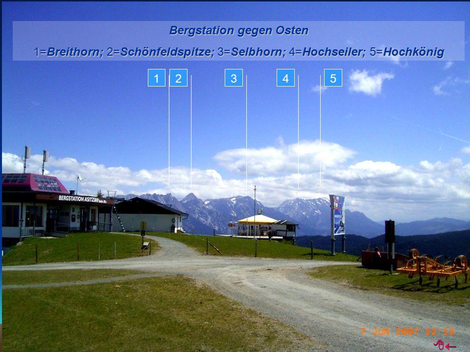 Bergstation gegen Osten 1=Breithorn; 2=Schönfeldspitze; 3=Selbhorn; 4=Hochseiler; 5=Hochkönig 12345 