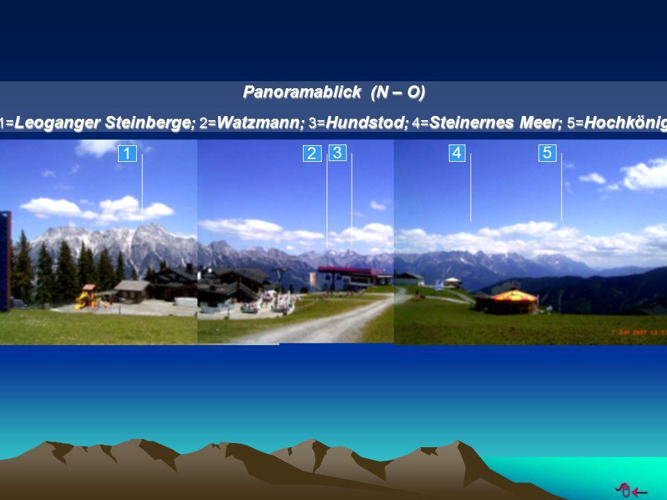 1 2 3 4 5 Panoramablick (N – O) 1= Leoganger Steinberge ; 2= Watzmann ; 3= Hundstod ; 4= Steinernes Meer ; 5= Hochkönig 