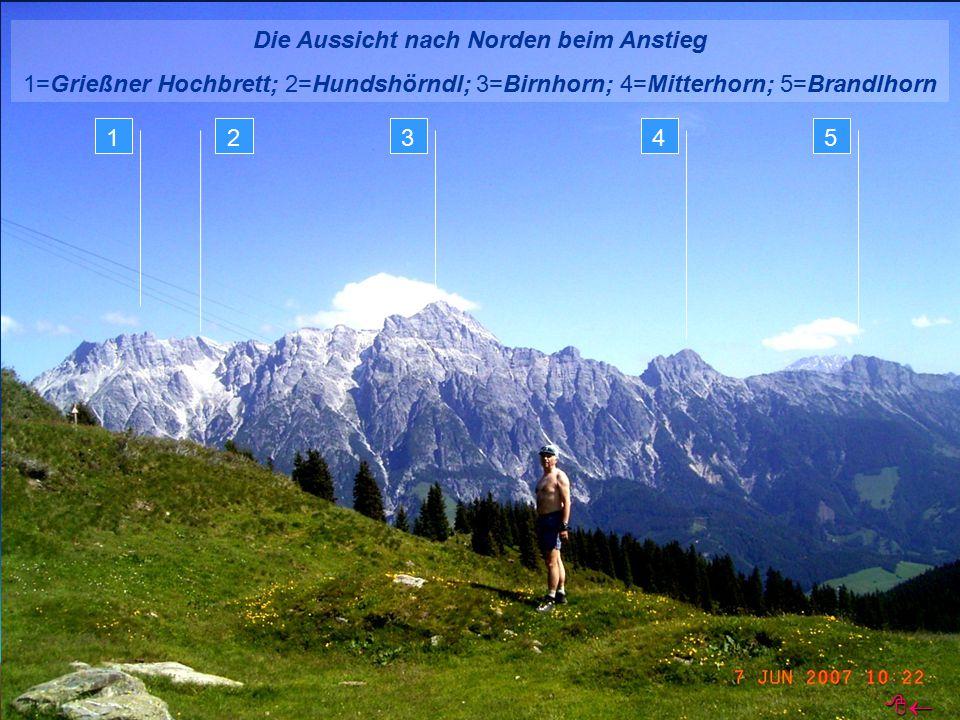 Die Aussicht nach Norden beim Anstieg 1=Grießner Hochbrett; 2=Hundshörndl; 3=Birnhorn; 4=Mitterhorn; 5=Brandlhorn 12345 