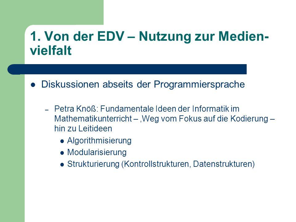 1. Von der EDV – Nutzung zur Medien- vielfalt Diskussionen abseits der Programmiersprache – Petra Knöß: Fundamentale Ideen der Informatik im Mathemati