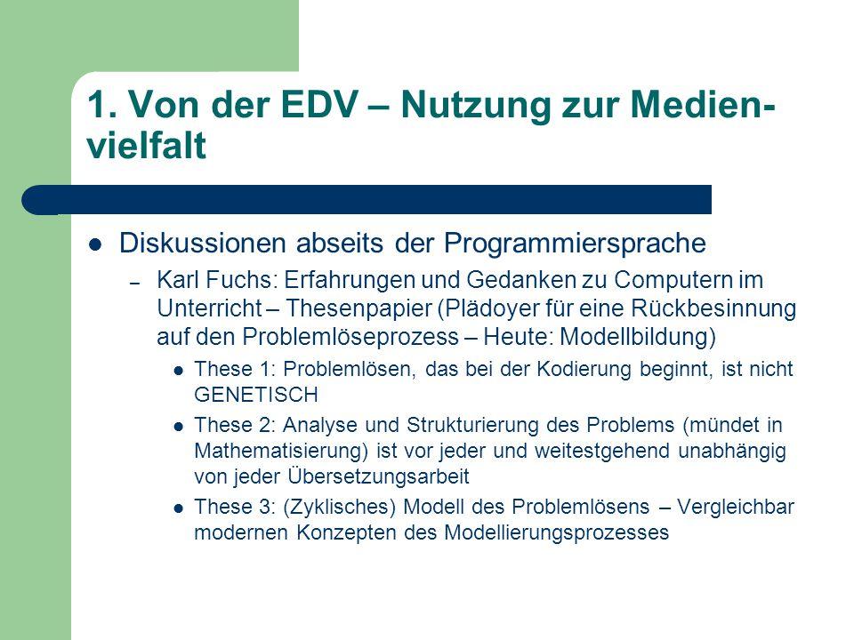 1. Von der EDV – Nutzung zur Medien- vielfalt Diskussionen abseits der Programmiersprache – Karl Fuchs: Erfahrungen und Gedanken zu Computern im Unter