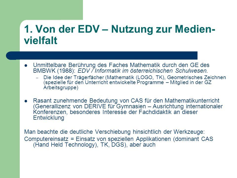 1. Von der EDV – Nutzung zur Medien- vielfalt Unmittelbare Berührung des Faches Mathematik durch den GE des BMBWK (1988): EDV / Informatik im österrei