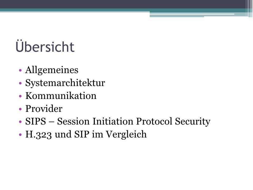 Übersicht Allgemeines Systemarchitektur Kommunikation Provider SIPS – Session Initiation Protocol Security H.323 und SIP im Vergleich
