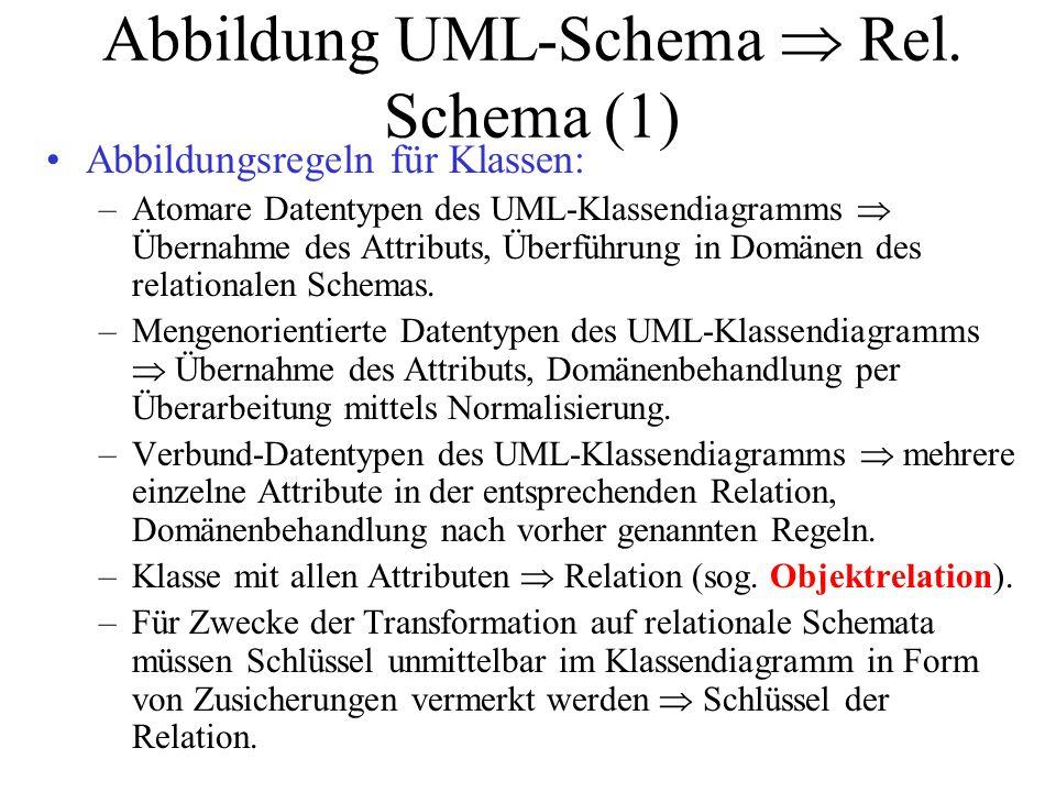 Abbildung UML-Schema  Rel. Schema (1) Abbildungsregeln für Klassen: –Atomare Datentypen des UML-Klassendiagramms  Übernahme des Attributs, Überführu