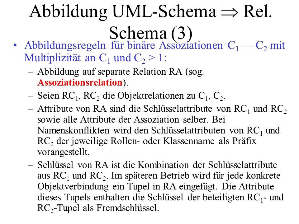 Abbildung UML-Schema  Rel. Schema (3) Abbildungsregeln für binäre Assoziationen C 1 — C 2 mit Multiplizität an C 1 und C 2 > 1: –Abbildung auf separa