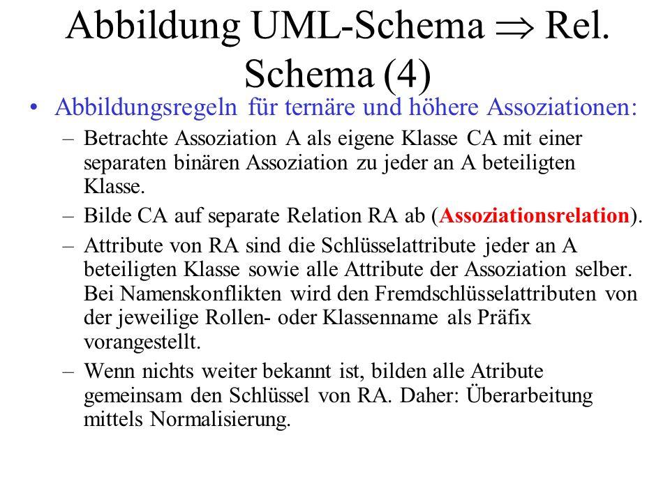 Abbildung UML-Schema  Rel. Schema (4) Abbildungsregeln für ternäre und höhere Assoziationen: –Betrachte Assoziation A als eigene Klasse CA mit einer
