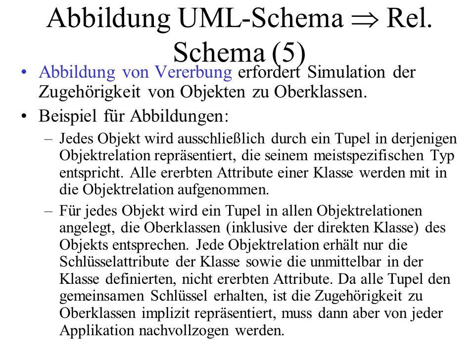 Abbildung UML-Schema  Rel. Schema (5) Abbildung von Vererbung erfordert Simulation der Zugehörigkeit von Objekten zu Oberklassen. Beispiel für Abbild
