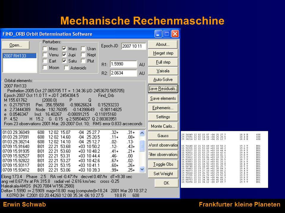 Mechanische Rechenmaschine Erwin Schwab Frankfurter kleine Planeten