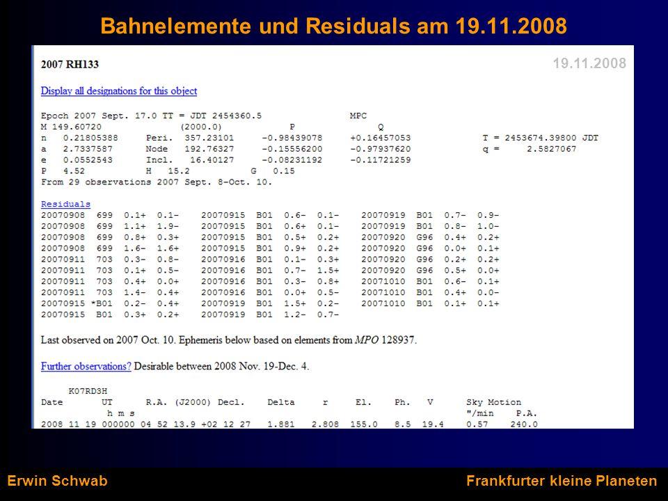 Bahnelemente und Residuals am 19.11.2008 19.11.2008