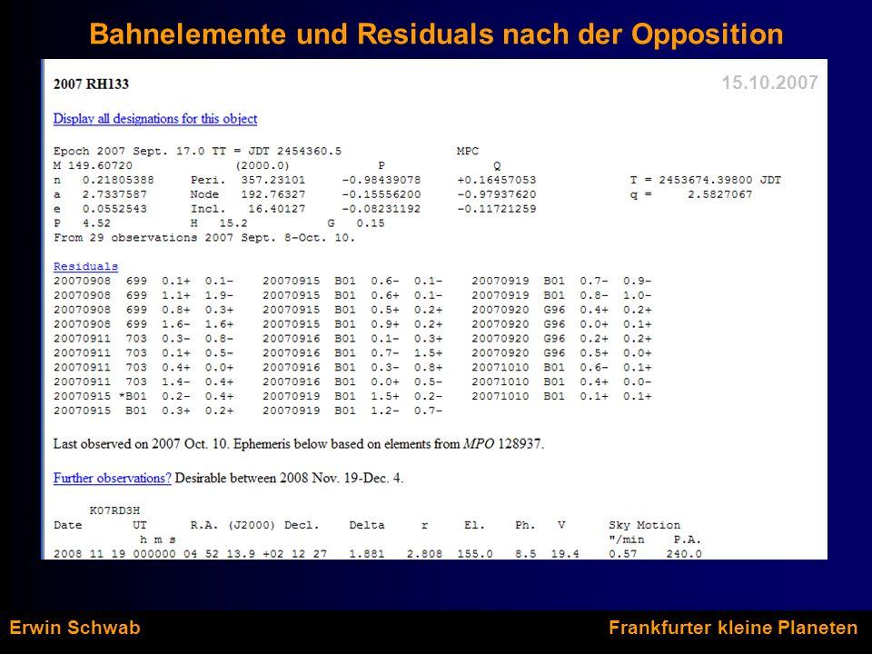 Erwin Schwab Frankfurter kleine Planeten Bahnelemente und Residuals nach der Opposition 15.10.2007