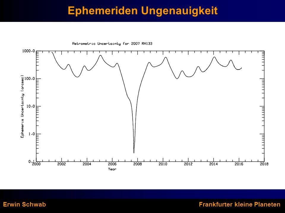 Ephemeriden Ungenauigkeit Erwin Schwab Frankfurter kleine Planeten