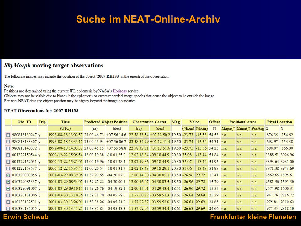 Suche im NEAT-Online-Archiv Erwin Schwab Frankfurter kleine Planeten