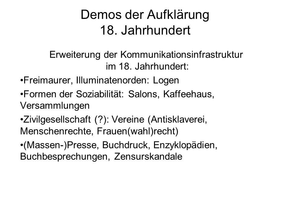 Demos der Aufklärung 18. Jahrhundert Erweiterung der Kommunikationsinfrastruktur im 18. Jahrhundert: Freimaurer, Illuminatenorden: Logen Formen der So