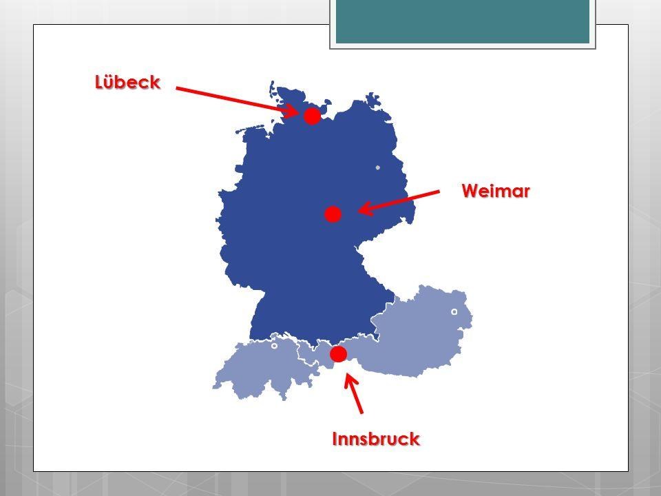 Es ist kalt in Weimar.Es ist sonnig in Weimar. Es ist kalt in Lübeck.