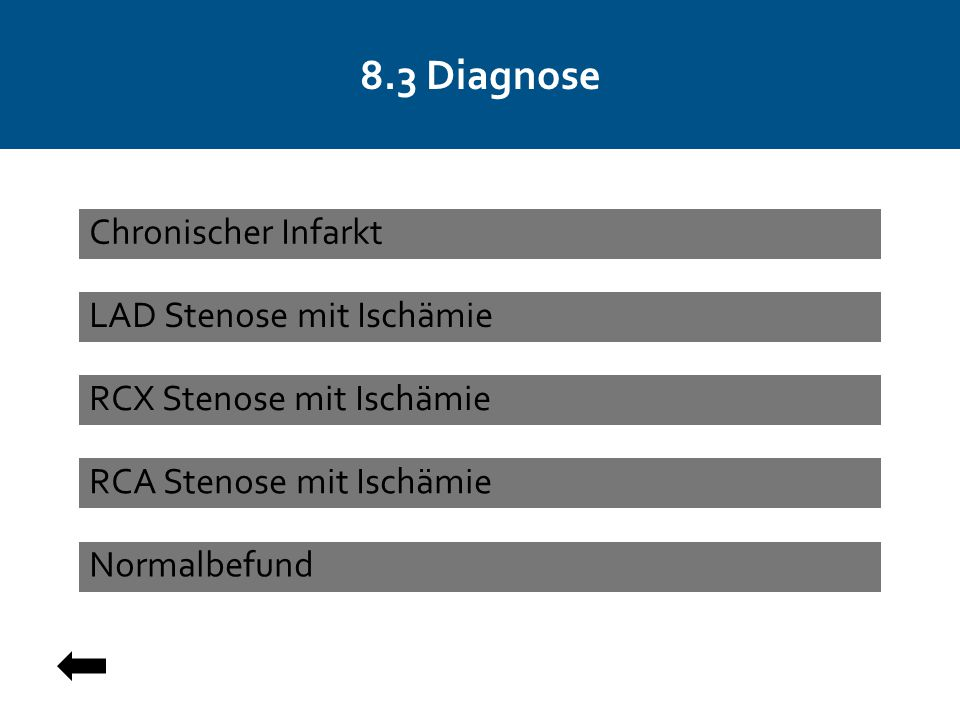 8.3 Diagnose LAD Stenose mit Ischämie RCX Stenose mit Ischämie Normalbefund Chronischer Infarkt RCA Stenose mit Ischämie