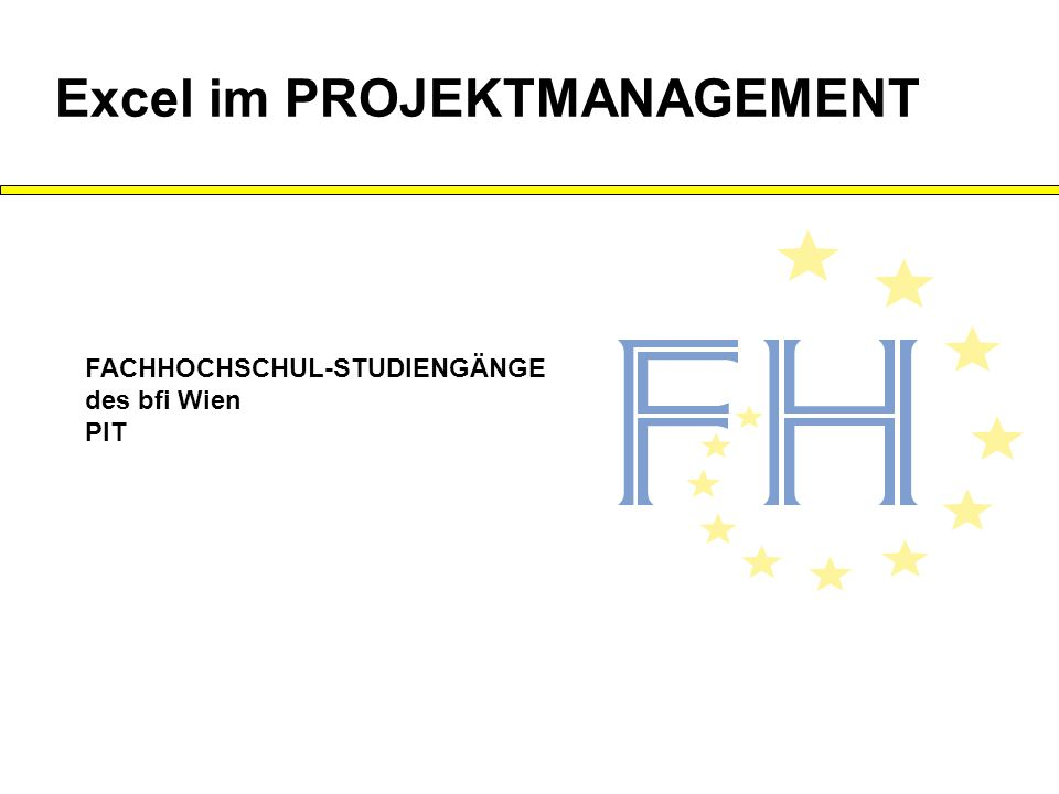 FACHHOCHSCHUL-STUDIENGÄNGE des bfi Wien PIT Excel im PROJEKTMANAGEMENT