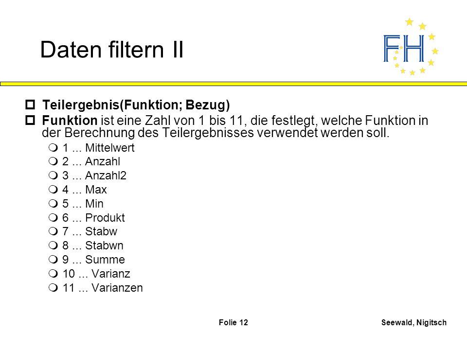 Seewald, NigitschFolie 12 Daten filtern II pTeilergebnis(Funktion; Bezug) pFunktion ist eine Zahl von 1 bis 11, die festlegt, welche Funktion in der B