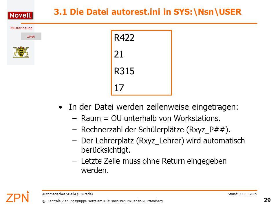 zwei © Zentrale Planungsgruppe Netze am Kultusministerium Baden-Württemberg Musterlösung Stand: 23.03.2005 29 Automatisches SHeilA (F.Wrede) 3.1 Die Datei autorest.ini in SYS:\Nsn\USER In der Datei werden zeilenweise eingetragen: –Raum = OU unterhalb von Workstations.