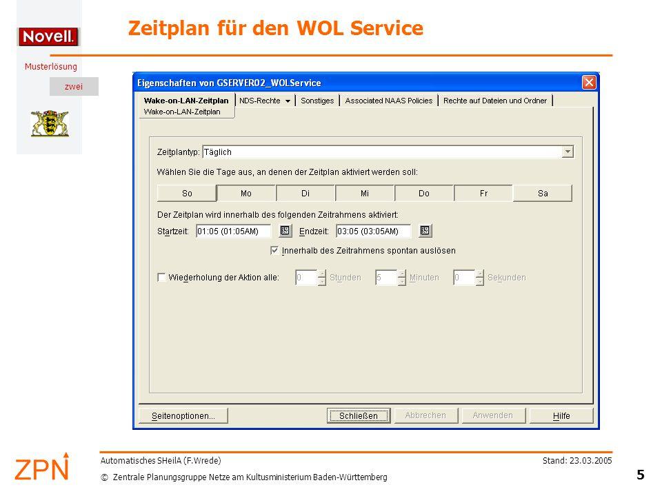 zwei © Zentrale Planungsgruppe Netze am Kultusministerium Baden-Württemberg Musterlösung Stand: 23.03.2005 5 Automatisches SHeilA (F.Wrede) Zeitplan für den WOL Service