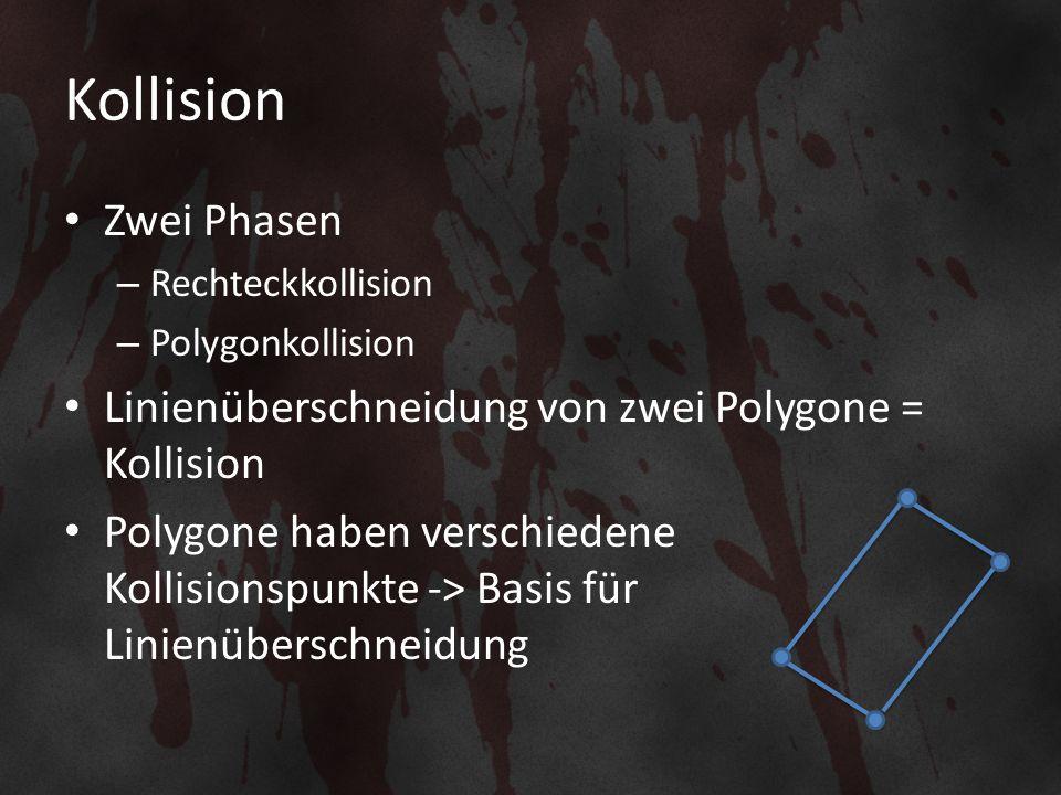 Kollision Zwei Phasen – Rechteckkollision – Polygonkollision Linienüberschneidung von zwei Polygone = Kollision Polygone haben verschiedene Kollisionspunkte -> Basis für Linienüberschneidung