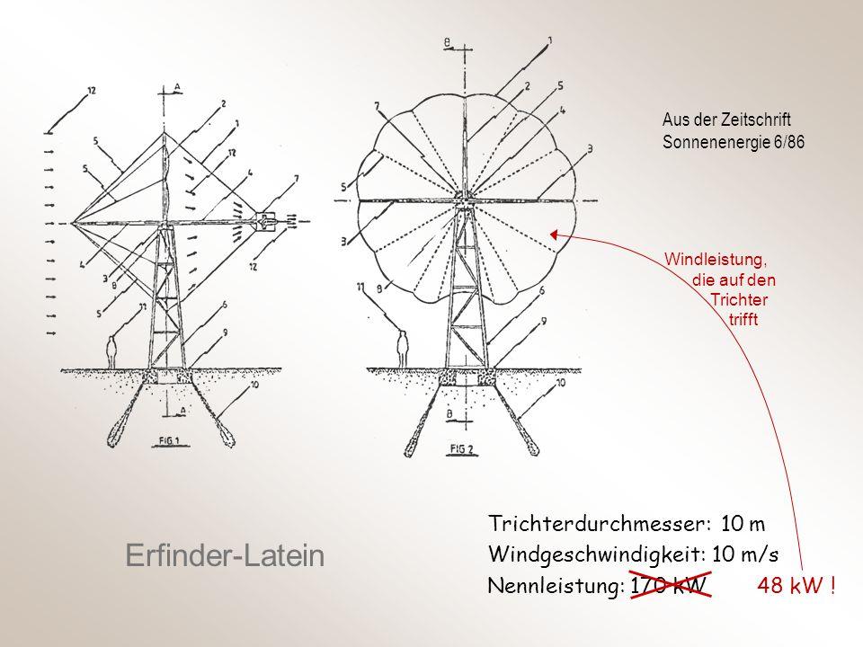 Aus der Zeitschrift Sonnenenergie 6/86 Erfinder-Latein Trichterdurchmesser: 10 m Windgeschwindigkeit: 10 m/s Nennleistung: 170 kW 48 kW ! Windleistung