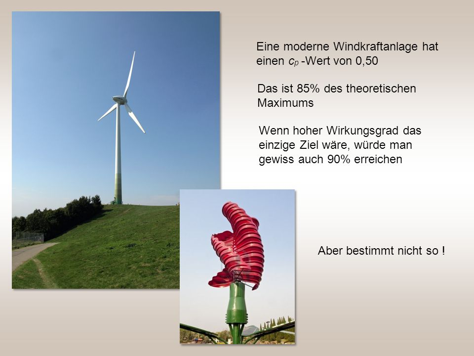 Eine moderne Windkraftanlage hat einen c p -Wert von 0,50 Das ist 85% des theoretischen Maximums Wenn hoher Wirkungsgrad das einzige Ziel wäre, würde