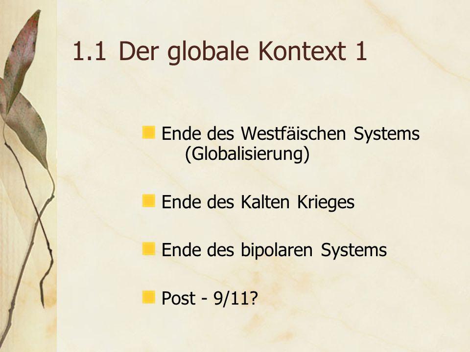 1.1Der globale Kontext 1 Ende des Westf ä ischen Systems (Globalisierung) Ende des Kalten Krieges Ende des bipolaren Systems Post - 9/11?