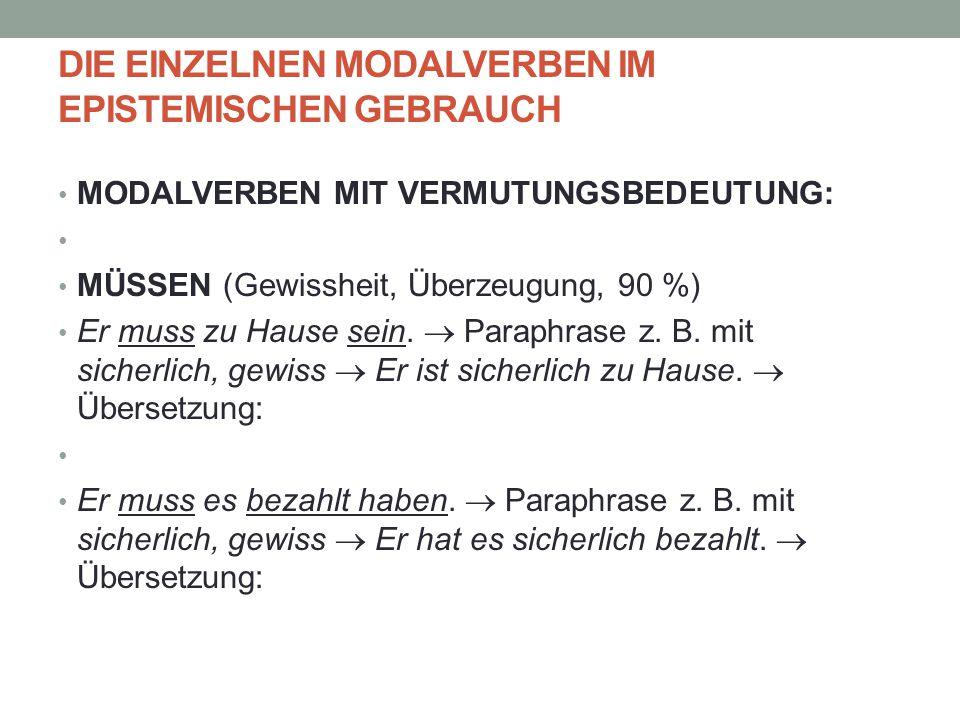 DIE EINZELNEN MODALVERBEN IM EPISTEMISCHEN GEBRAUCH MODALVERBEN MIT VERMUTUNGSBEDEUTUNG: MÜSSEN (Gewissheit, Überzeugung, 90 %) Er muss zu Hause sein.