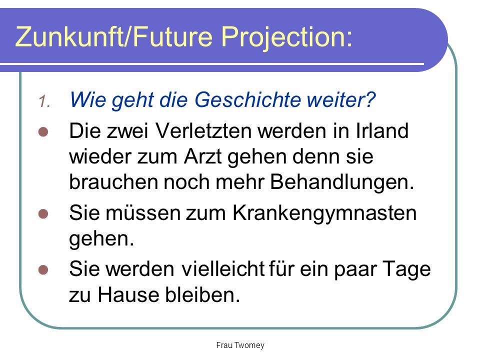 Zunkunft/Future Projection: 1. Wie geht die Geschichte weiter? Die zwei Verletzten werden in Irland wieder zum Arzt gehen denn sie brauchen noch mehr