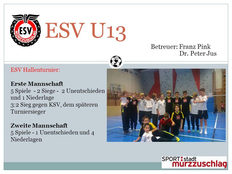 ESV U13 Betreuer: Franz Pink Dr. Peter Jus ESV Hallenturnier: Erste Mannschaft 5 Spiele - 2 Siege - 2 Unentschieden und 1 Niederlage 3:2 Sieg gegen KS