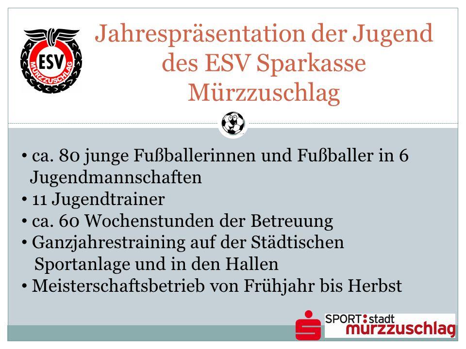 Jahrespräsentation der Jugend des ESV Sparkasse Mürzzuschlag ca. 80 junge Fußballerinnen und Fußballer in 6 Jugendmannschaften 11 Jugendtrainer ca. 60