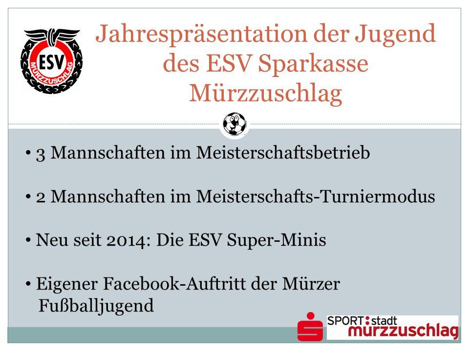 Jahrespräsentation der Jugend des ESV Sparkasse Mürzzuschlag 3 Mannschaften im Meisterschaftsbetrieb 2 Mannschaften im Meisterschafts-Turniermodus Neu