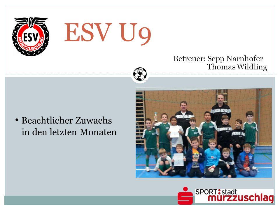 ESV U9 Betreuer: Sepp Narnhofer Thomas Wildling Beachtlicher Zuwachs in den letzten Monaten