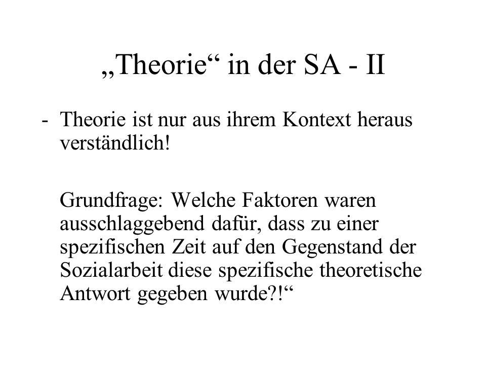 """""""Theorie"""" in der SA - II -Theorie ist nur aus ihrem Kontext heraus verständlich! Grundfrage: Welche Faktoren waren ausschlaggebend dafür, dass zu eine"""