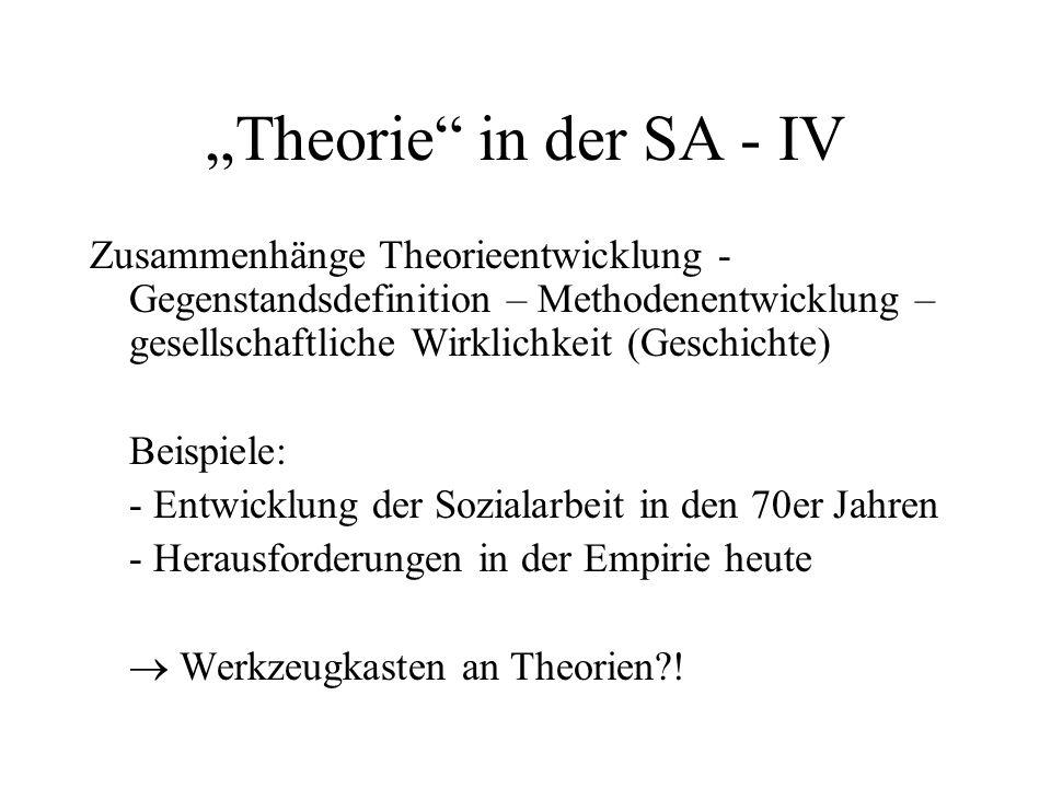 """""""Theorie"""" in der SA - IV Zusammenhänge Theorieentwicklung - Gegenstandsdefinition – Methodenentwicklung – gesellschaftliche Wirklichkeit (Geschichte)"""