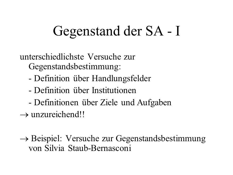 Gegenstand der SA - I unterschiedlichste Versuche zur Gegenstandsbestimmung: - Definition über Handlungsfelder - Definition über Institutionen - Defin