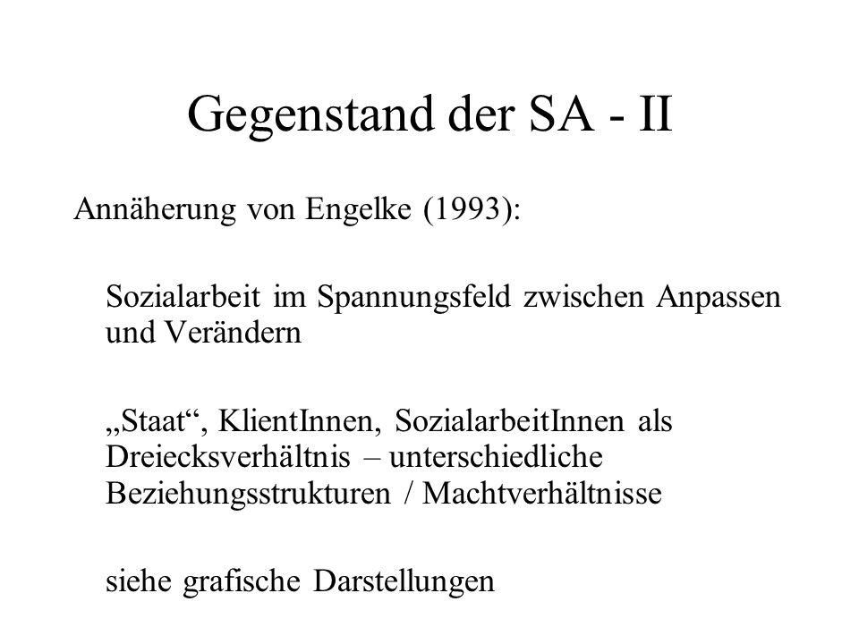 """Gegenstand der SA - II Annäherung von Engelke (1993): Sozialarbeit im Spannungsfeld zwischen Anpassen und Verändern """"Staat"""", KlientInnen, Sozialarbeit"""