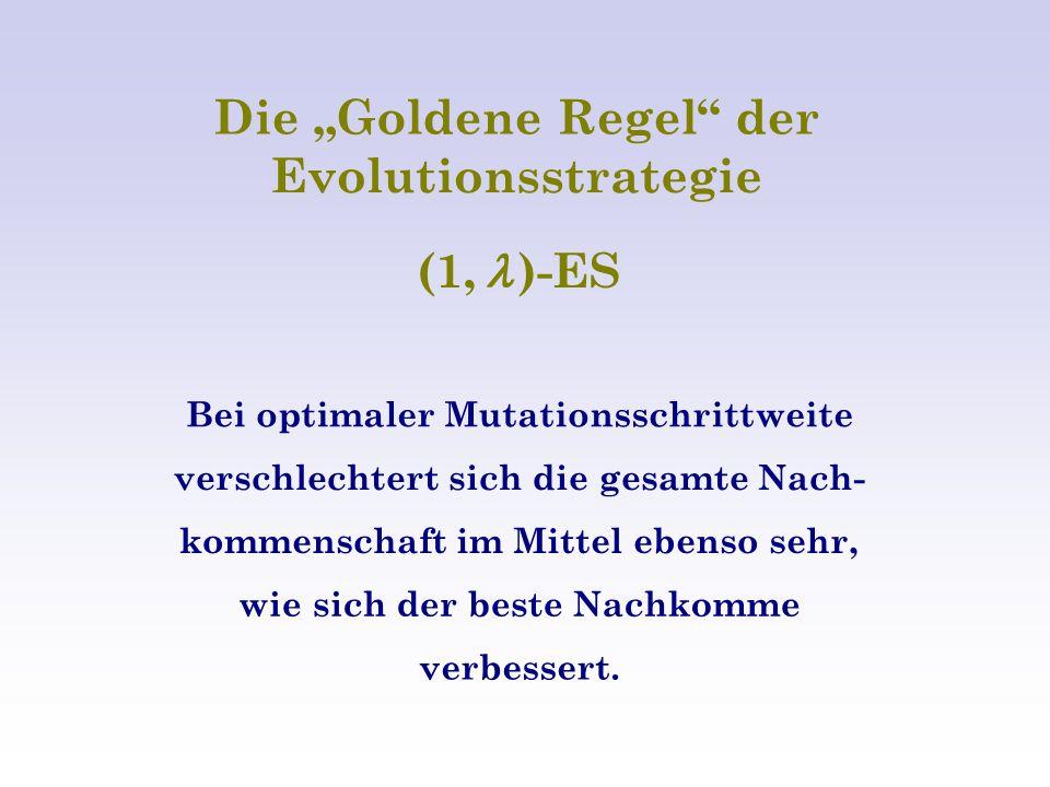 """Die """"Goldene Regel der Evolutionsstrategie (1, )-ES Bei optimaler Mutationsschrittweite verschlechtert sich die gesamte Nach- kommenschaft im Mittel ebenso sehr, wie sich der beste Nachkomme verbessert."""