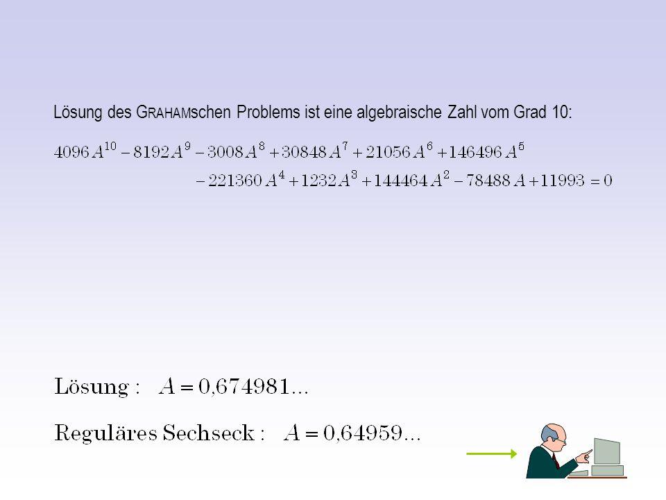 Lösung des G RAHAM schen Problems ist eine algebraische Zahl vom Grad 10: