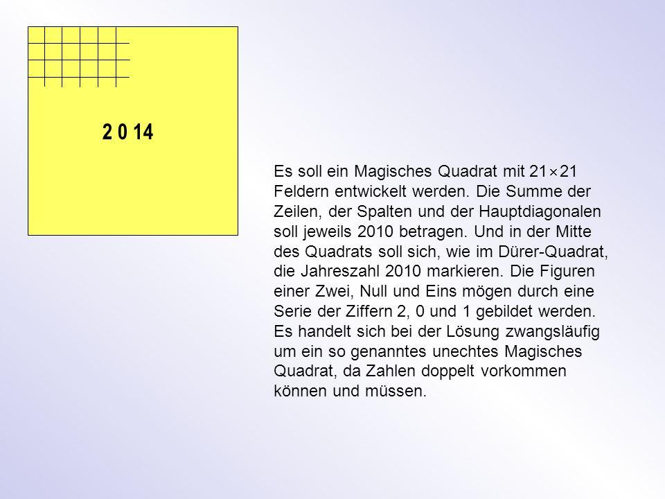 2 0 14 Es soll ein Magisches Quadrat mit 21  21 Feldern entwickelt werden.