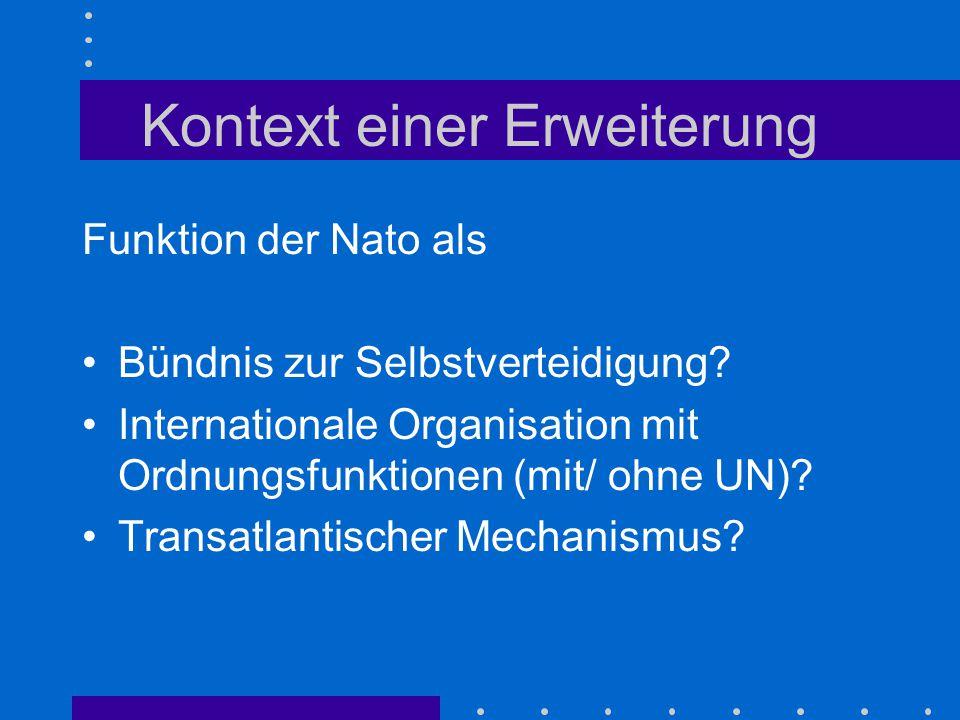 Kontext einer Erweiterung Funktion der Nato als Bündnis zur Selbstverteidigung? Internationale Organisation mit Ordnungsfunktionen (mit/ ohne UN)? Tra