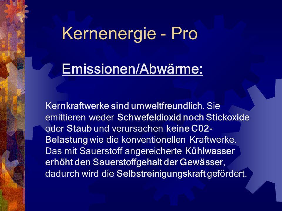 Index Kernenergie Pro Emission/Abwärme Radioaktivität/Sicherheit Wirtschaftliche Notwendigkeit Umwelt Kernenergie Contra Risiken Emission/Abwärme Radi
