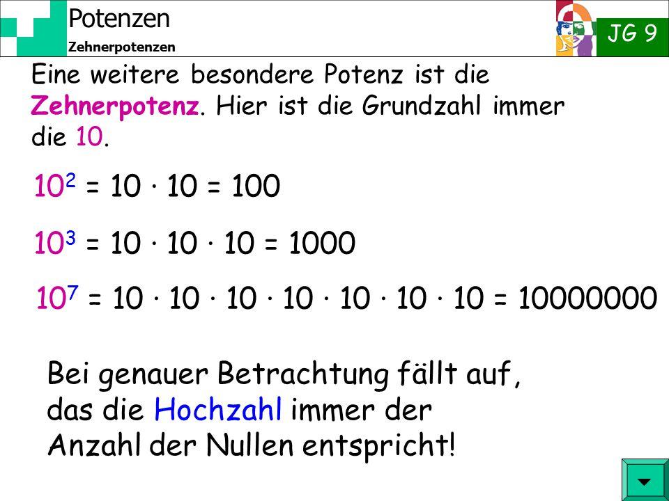 Potenzen JG 9 Zehnerpotenzen Du bist jetzt hier: 1 Potenzen  2 Zehnerpotenzen 3 Zehnerpotenzen mit negativen Hochzahlen 4 Standardschreibweise für gr
